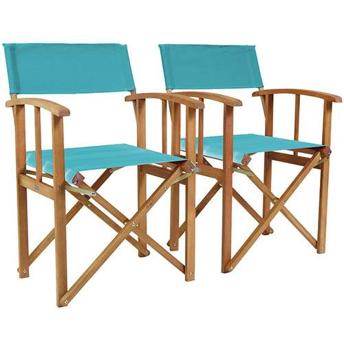 One Pair of Wooden Director Chairs in Teal