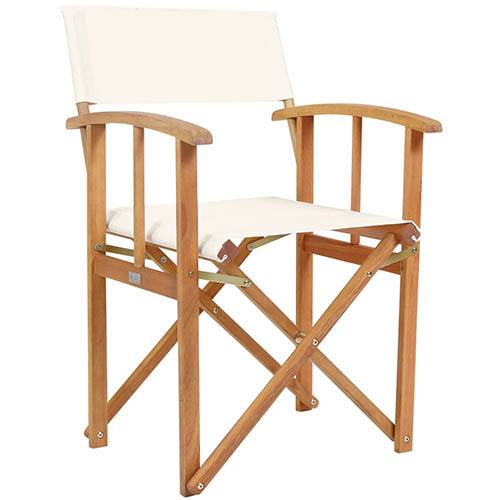 One Pair of Wooden Director Chairs in Cream