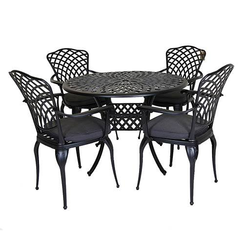 Cast Aluminium 4 Seater Dining Set - Grey