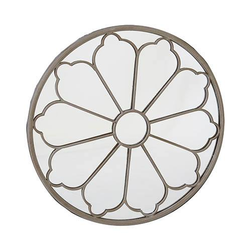 Round Outdoor Flower Mirror - Cream