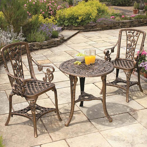 3-pc Rose Arm Chair Patio Set - Bronze