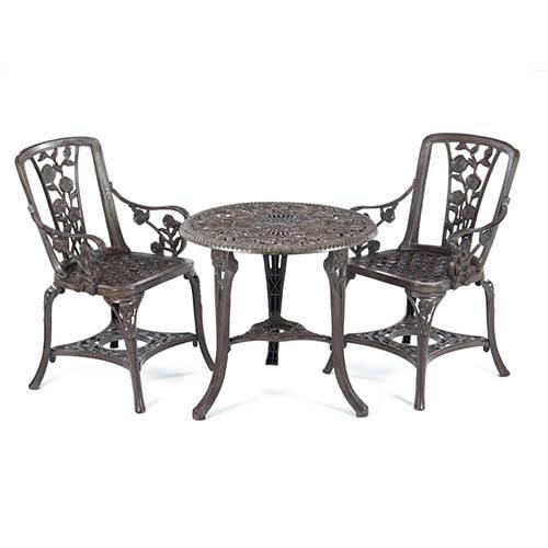 3-pc Rose Arm Chair Patio Set - Grey