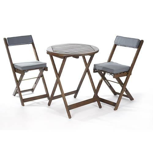 Raffles Bistro Set with Cushions - Grey
