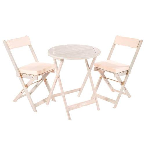 Raffles Bistro Set with Cushions - White