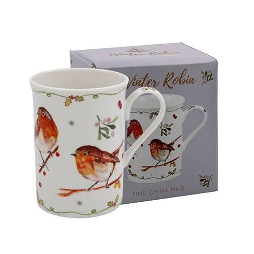 Fine China Winter Robins Mug