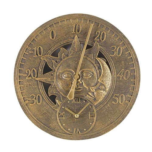Sun & Moon 12 Wall Thermometer andClock
