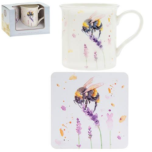 Country Bees Mug and Coaster Set