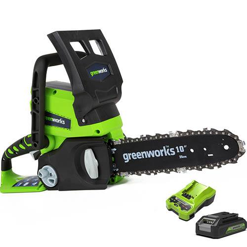 Greenworks 24V Cordless Chainsaw with 2Ah Battery and Charger