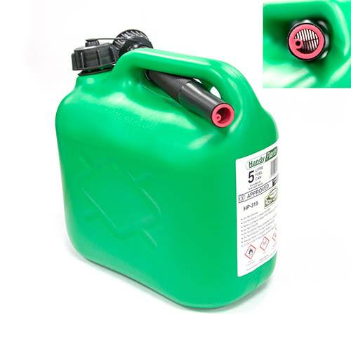 Green Fuel Can with No Spill Spout 5 Litre