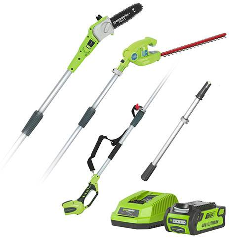 Greenworks 40v Long Reach Hedge Trimmer & Pruner Combo with 2Ah Battery and Charger