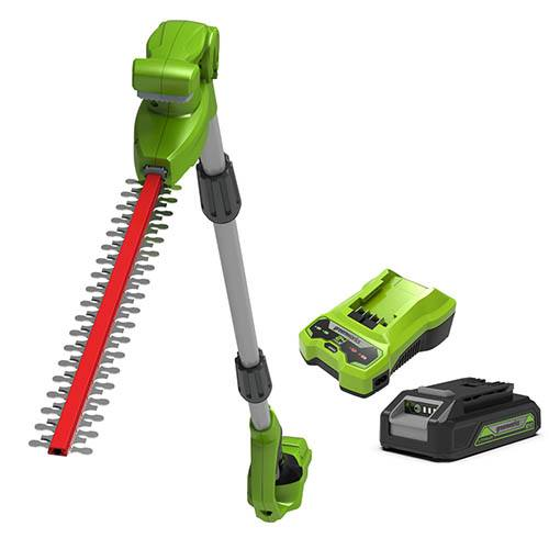 24V 51cm (20) Long Reach Cordless Hedge Trimmer with 2Ah Battery & Economy Charger