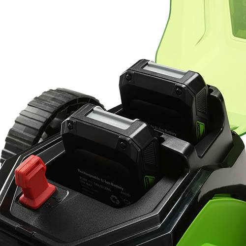 Greenworks 48V 41cm Lawnmower with Two 24v 2Ah Batteries & 2A Charger