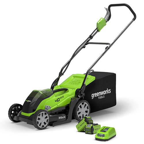 40V 35cm (14) Cordless Lawnmower with 2 x 2Ah Battery & Charger