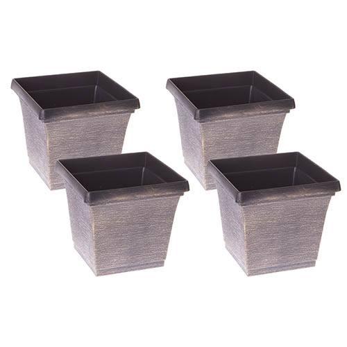 Set of 4 Brushed Metallic Finish Square Planters