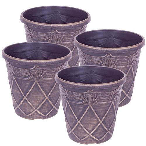 Set of 4 10 Tuscan Style Gold Planters