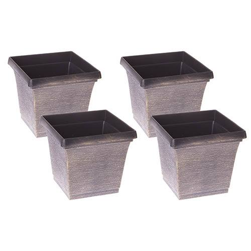 Set of 4 Brushed Metallic Finish Square Planters