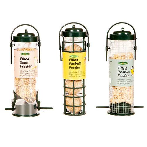 Pack of 3 pre-filled bird feeders - seed, peanuts & fatballs