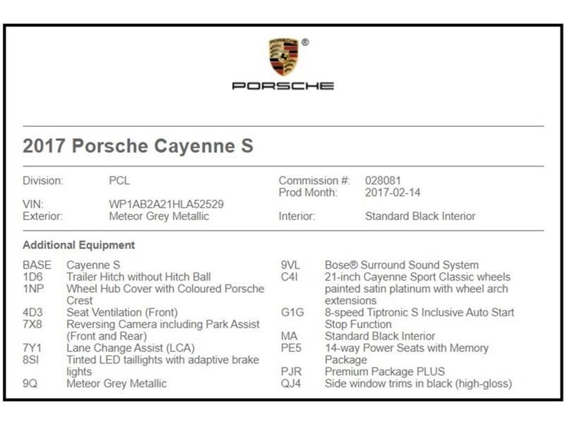 Porsche Cayenne S Premium package plus, ROUES  2017