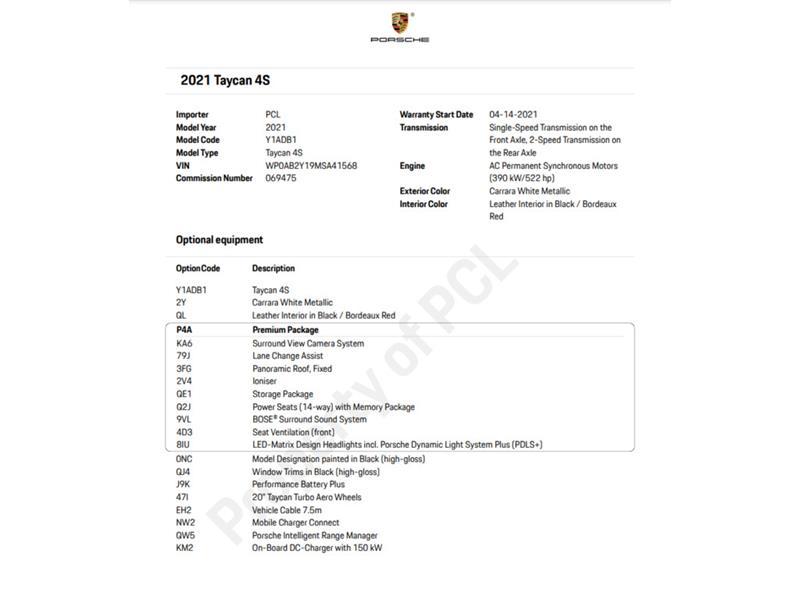 Porsche Taycan 2021 4S