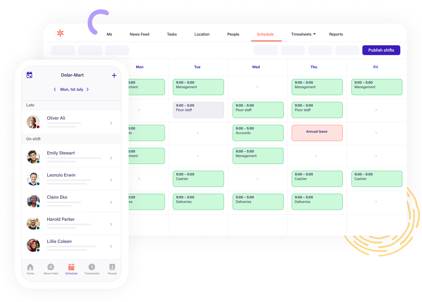 Scheduling software for grocery shops