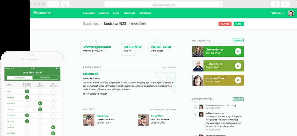 Studentvikarie - booking management