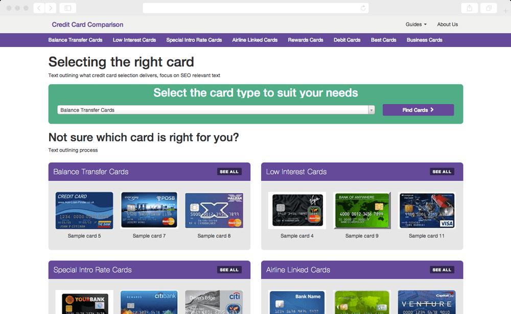 Credit Card Selector - comparison platform