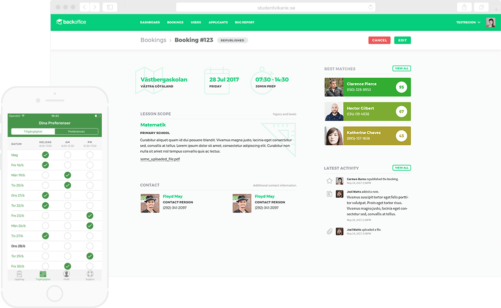 Streamlining job search and recruitment processes on a platform
