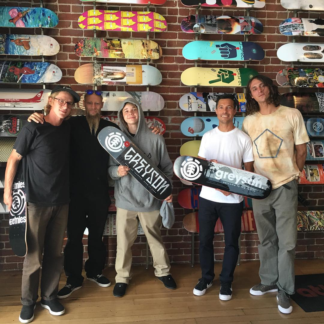 We stopped by our good friends over at @atlasskateboarding to drop off @greyson_fletcher's first edition pro model. There happened to be a local shredder who supports the shop when we stopped by, so we hooked him up with a board. Always...