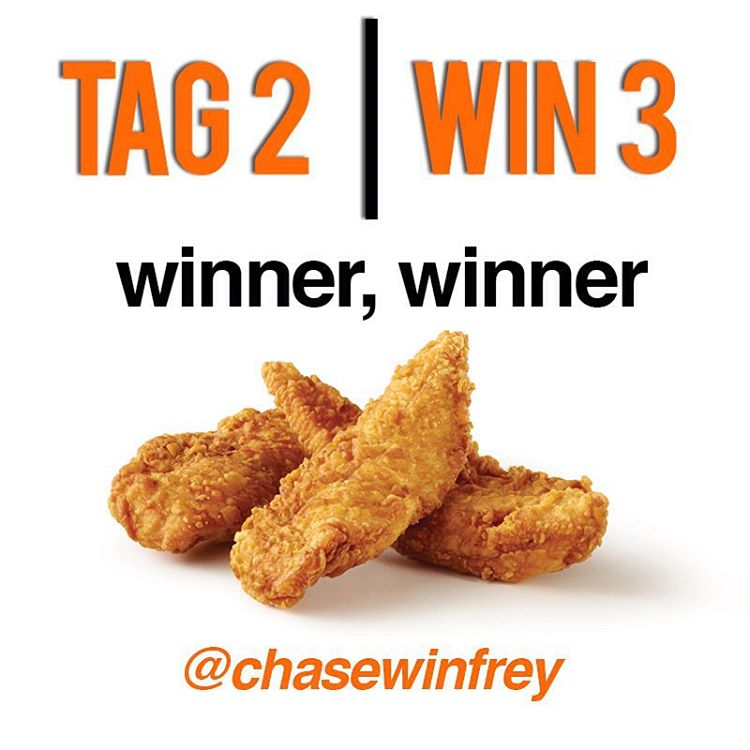 WINNER, WINNER CHICKEN DINNER  @chasewinfrey you are our TAG 2 | WIN 3 winner. Check your DMs for details. Thanks to everyone who played!