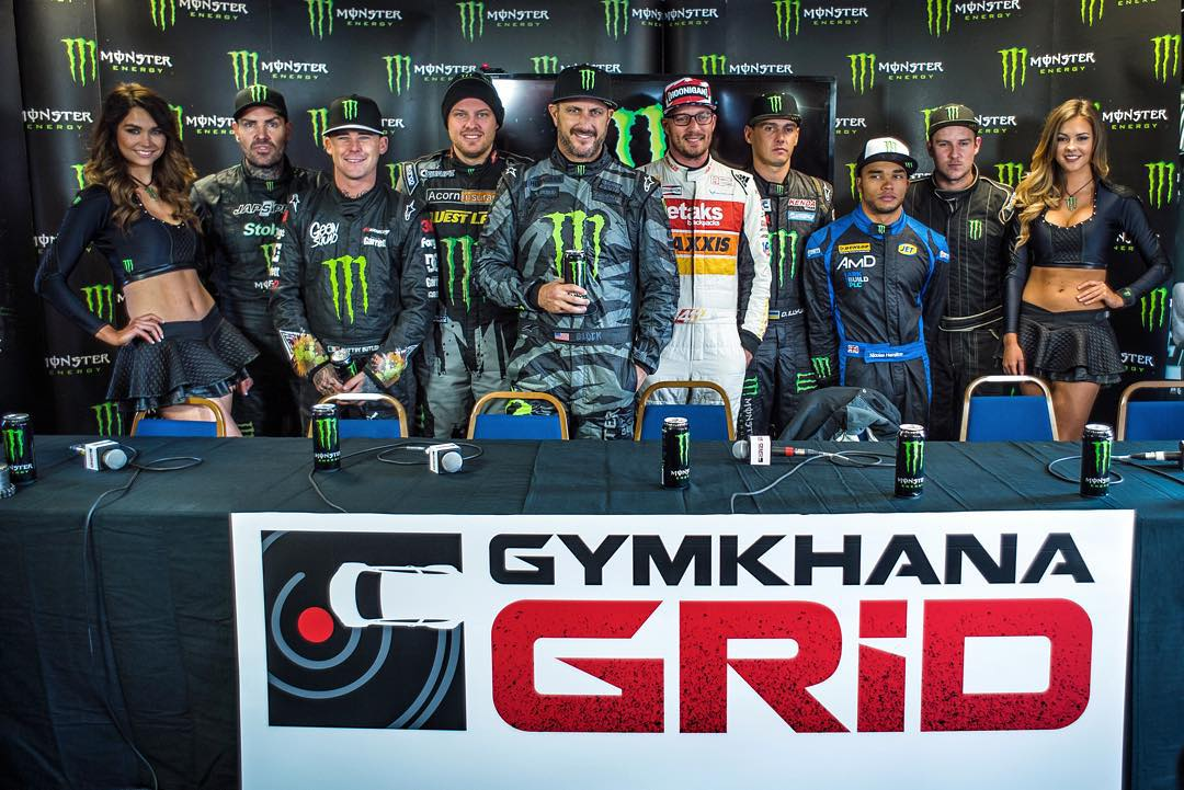 Kicking off the @GymkhanaGRID Final with a press conference alongside all the @MonsterEnergy drivers (and @TheHoonigans driver @RyanTuerck) that are competing here this weekend. Stoked to see all these guys do battle on the GRID course this weekend,...