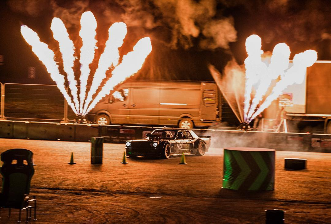 Pyro testing this evening at the @GymkhanaGRID Final with my Ford Mustang Hoonicorn RTR. What do you think - mo' fire? Less fire? Add lasers? #GymkhanaGRID #pyroFTW