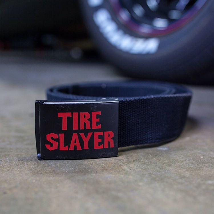 Slay tires to the belts. The web belt is one size fits all and adjustable length. You know where it is (hoonigan.com).