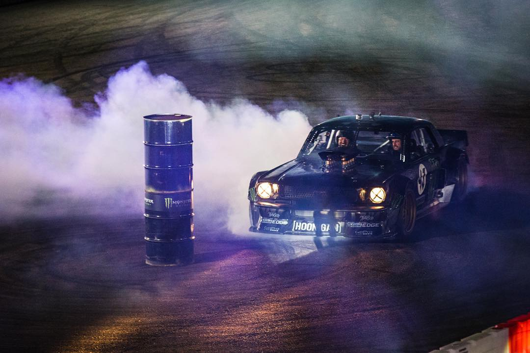 HHIC @kblock43 getting reacquainted with the  #hoonicorn during a couple of casual laps around the course at @gymkhanagrid Santa Pod.