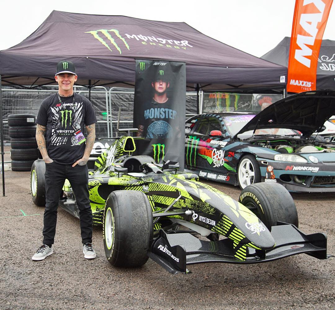 Say hello to my buddy/fellow @MonsterEnergy driver @ButtsyButler's new drift demo car for next year, that's out on display here at @GymkhanaGRID. Nope, that's not a joke - he's going to be doing demos in a 2006 spec Formula 1 car! So wild. All that's...