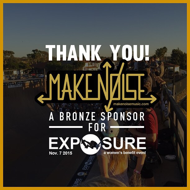 Thank you to Make Noise confirmed to be a bronze sponsor for Exposure 2015!! There are plenty of partnership opportunities still available, email partnerships@exposureskate.org to find out how you can help empower girls through skateboarding!