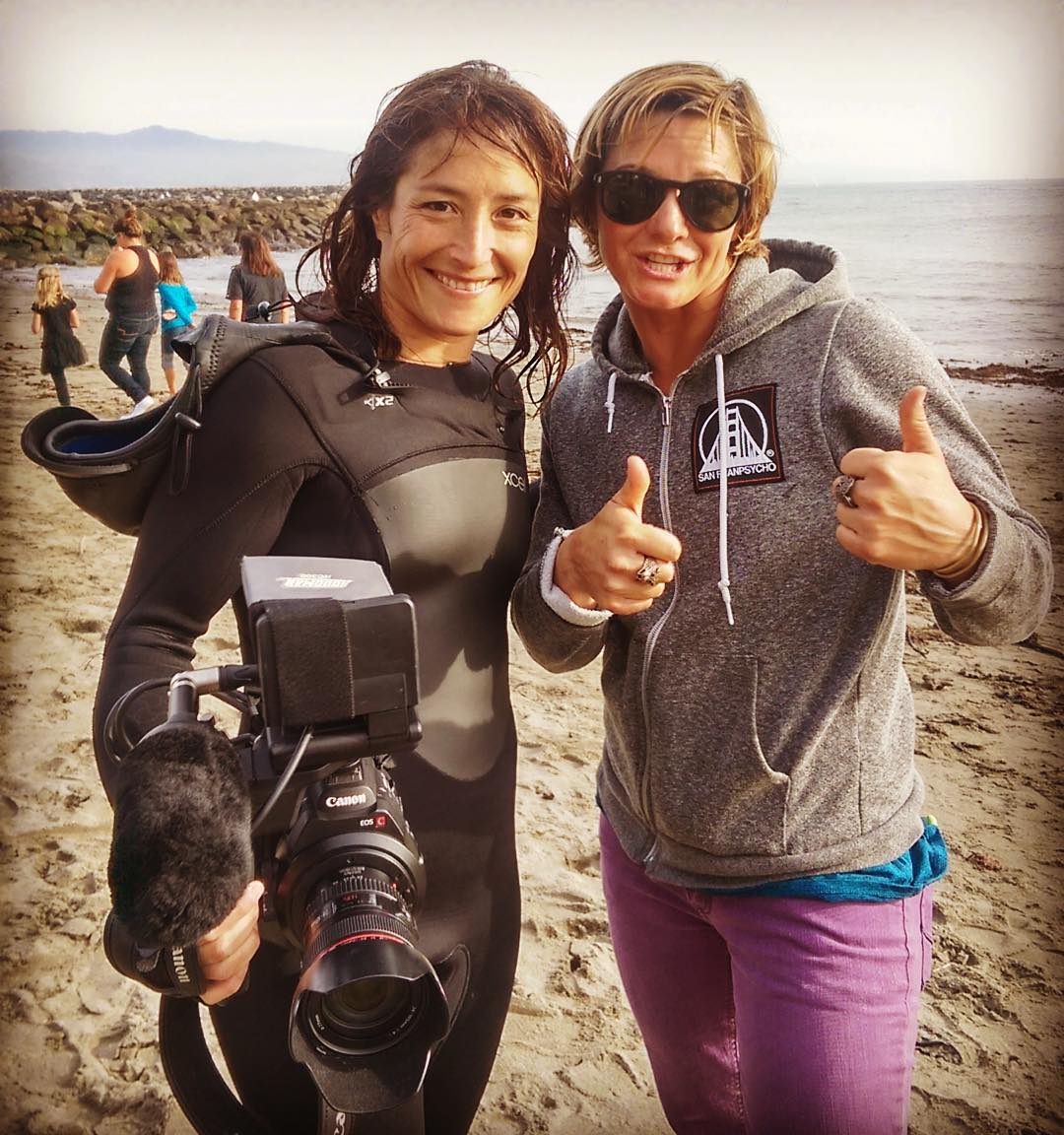 "Had a two thumbs up type day hanging out with one of our fav athlete ambassadors @biancavalenti at the opening ceremony of the #titansofmavericks (aka the ""Mavs"") surf contest, on the beach at Pilar Point / HMB."