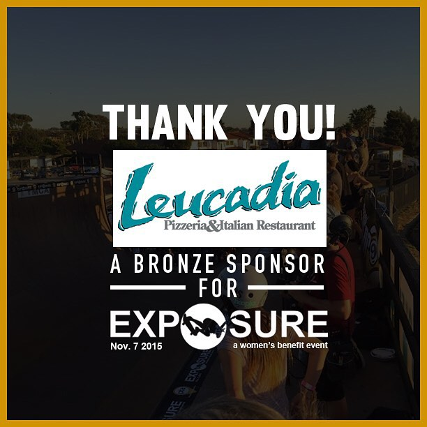 Thank you to @leucadiapizza confirmed to be a bronze sponsor for Exposure 2015!! There are plenty of partnership opportunities still available, email partnerships@exposureskate.org to find out how you can help empower girls through skateboarding!