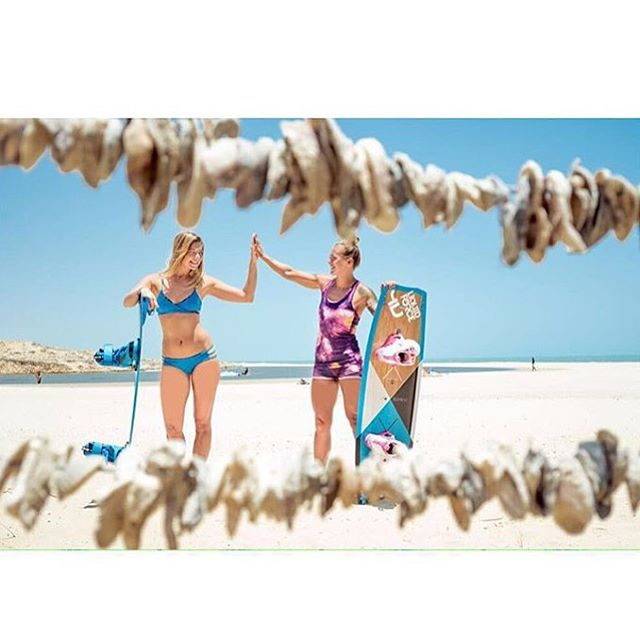 Our girls get after it. Team rider @malinamle and @kristiinoja training hard in Brazil. Follow them for some kite life envy. #sensicaroline #sensikyla #bluebikini #smile #kitebabes