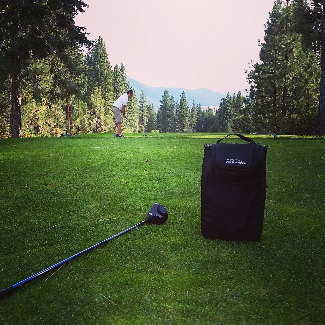 A little #golf on a hazy Saturday.  Great use for the Tahoe cooler!  #getoutside #links #inclinevillage #LakeTahoe #weekends #coolers #graniterocx