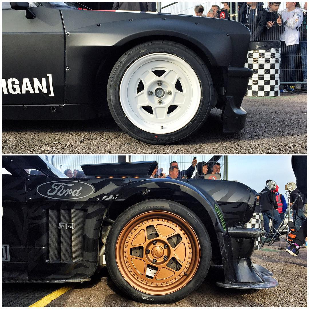 #Hoonicorn_vs_Mk2, wheels edition: The Hoonicorn's three-piece @fifteen52 Tarmac R43 vs the Gymkhana Escort's Tarmac F40 wheels. #GymkhanaGRID #TarmacR43 #TarmacF40