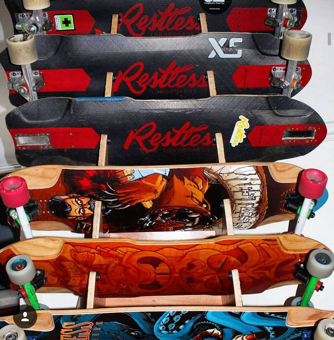 @niko_dh 's and @cassandraduchesne 's board rack. Which deck would you grab?  #restlessboards #restlessnkd #restlessfishbowl