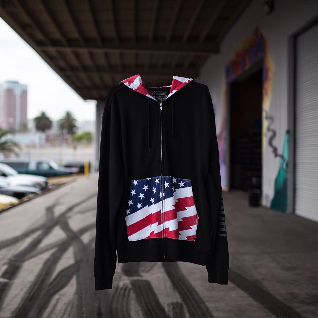 Exercise your freedom and kill some tires. The Stars and Stripes zip hooded fleece is available on #hooniganDOTcom #hoonresponsibly