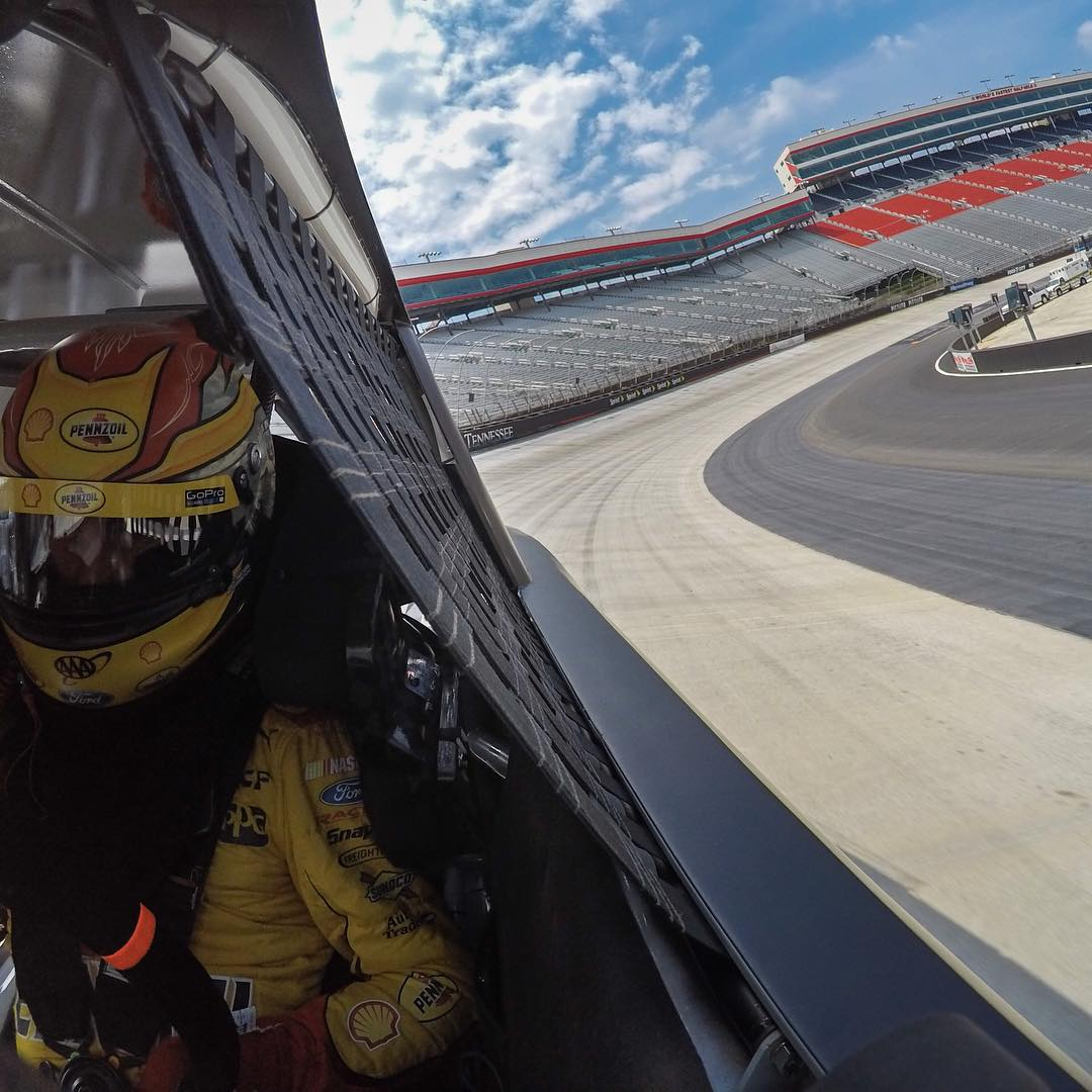 That's three straight wins for @joeylogano as he takes the win @talladegasupers today! Here's a #GoPro shot of Joey getting ready for #thechase at Bristol Motor Speedway #nascar