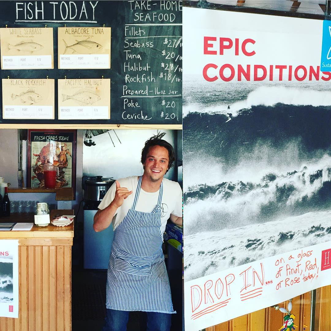 "EPIC CONDITIONS today with the @hookfishco crew at their usual Sunday ""pop-up"" cafe, at the Cajun Pacific cafe, just 3 streets up from the pounding surf at Ocean Beach, SF"