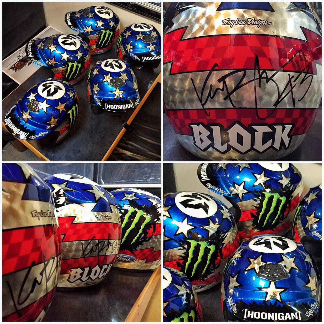 That's a lot of @TroyLeeDesigns brain buckets! Signed a bunch of these #GymkhanaSEVEN replica helmets yesterday, which @MonsterEnergy had ordered for various promotions around Europe. I love it when my sponsors do cool stuff like this, directly...