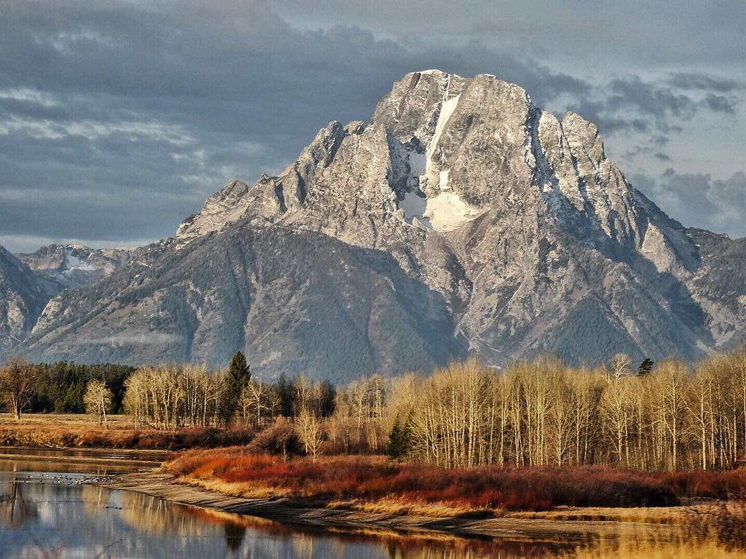 "Mt Moran stands at the ready for the massive amount of snow to come this winter in Jackson Hole. Legends say these mountains ""breathe"", and sometimes strange lights can be seen moving through the high peaks when no one should be there.  #avalon7..."