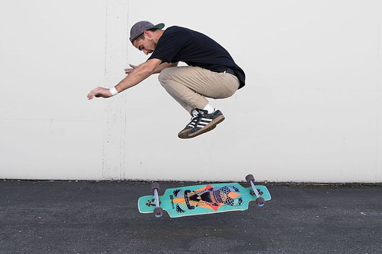Old school kick flips on the Dyad V2 with Ian one of the craftsmen who creates our boards at the shop.