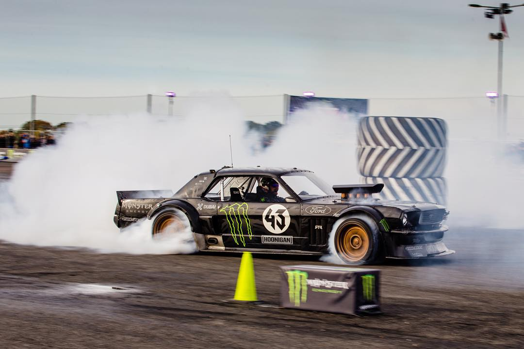 Five-time #XGames medalist @KBlock43 unleashed his '65 Mustang this weekend in England!  The Hoonicorn will be featured in '@NeedForSpeed' game. (