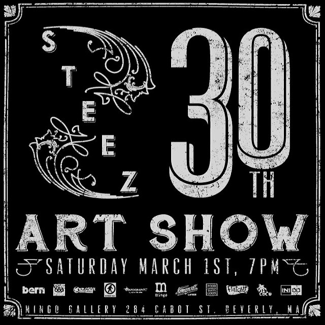 Tonight is our 30th issue art show at @mingogallery in Beverly. Get here. Thanks for the support @bernunlimited @686 @explosiveind @outdoortech @capography @gansettbeer @foodshouldtastegood @flatoutbread @vitacoco @inicooperative #steezmagazine...
