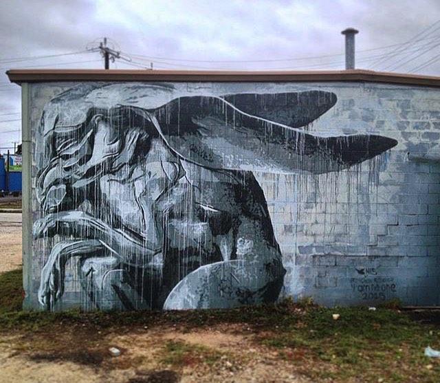 "@nilsrva | @bethcavener San Antonio TX. • • ""I am no one"" • • #sanantonio #tx #texas #mural #art #spratx #nilsrva #bethcavener #graffiti #stencil #streeart"